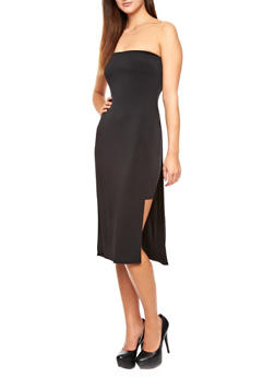 Solid Midi Skirt With High-Slit Semi-Sheer Maxi Overlay,BLACK,medium