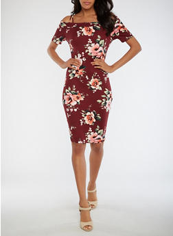 Floral Off the Shoulder Bodycon Dress - 3094058930129