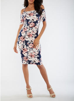 Floral Off the Shoulder Midi Dress - 3094058930130