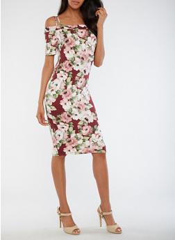 Floral Off the Shoulder Midi Dress - 3094058930130