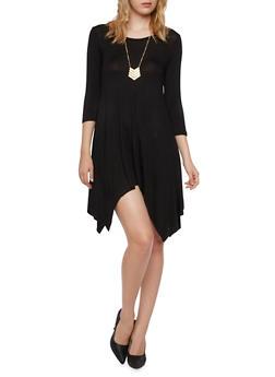 Jersey Dress with Sharkbite Hem and Necklace - 3094058930307