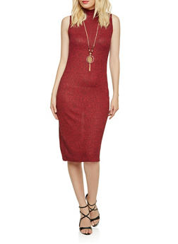Mock Neck Dress with Removable Necklace - 3094058930405