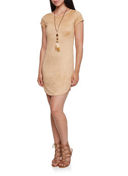 Faux Suede Dress with Removable Necklace - 3094058930616
