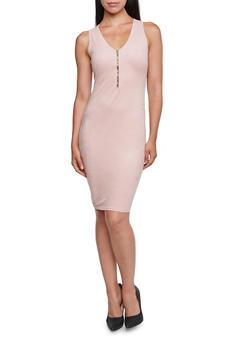 Bodycon Dress with Zippered Neckline - 3094058930814