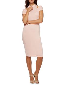 Cutout Midi Dress in Ribbed Knit - 3094058930819