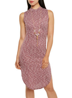 Sleeveless Ribbed Mock Neck Bodycon Dress with Removable Necklace - 3094058930910