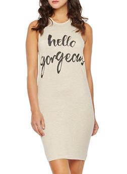 Sleeveless Hoodie Midi Dress with Hello Gorgeous Print - 3094058931245