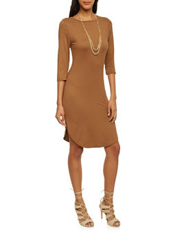 Bodycon Midi Dress with Chain Necklace - 3094058931808