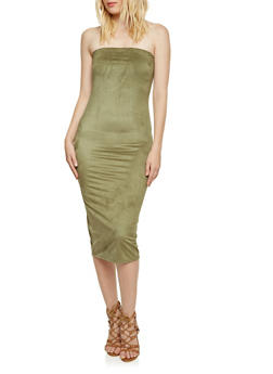 Strapless Midi Dress in Sueded Knit - 3094058931809