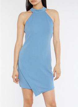 High Neck Asymmetrical Hem Bodycon Dress - 3094058932001