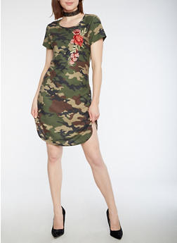 Short Sleeve Camo Dress with Floral Applique - 3094058932809