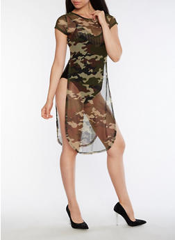 Camo Mesh Dress with Open Sides - 3094058932810