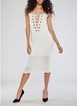 Sleeveless Lace Up Midi Dress - 3094058932926