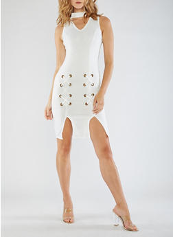 Sleeveless Midi Dress with Lace Up Detail - WHITE - 3094058932927