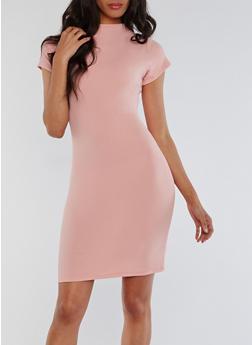 Soft Knit Funnel Neck Bodycon Dress - MESA ROSE - 3094058932929