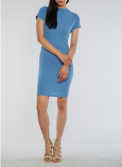 Soft Knit Funnel Neck Bodycon Dress - 3094058932929