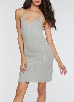 Ribbed Knit V Neck Bodycon Dress - 3094058933108