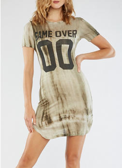 Short Sleeve Game Over Graphic Dress - 3094058933122