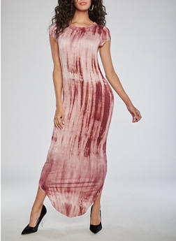 Short Sleeve Tye Dye Maxi Dress - 3094058933124