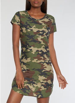 Ripped Camo T Shirt Dress - 3094058933808