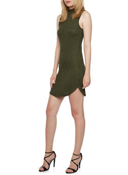 Sleeveless Mock Neck Dress with Necklace - 3094058934004