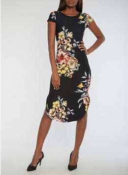 Short Sleeve Floral Print Midi Dress - 3094058937241