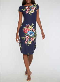 Short Sleeve Floral Print Midi Dress - 3094058937241