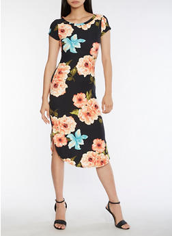 Soft Knit Floral Midi Dress - 3094058937242
