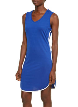 Sleeveless French Terry Hooded Dress - 3094058938014