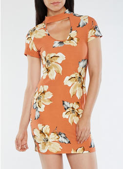 Soft Knit Floral Bodycon Dress - 3094058938619