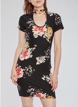 Floral Choker T Shirt Dress - 3094058938819