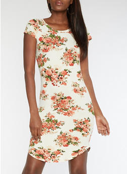 Floral Round Hem Bodycon Dress - 3094058939519
