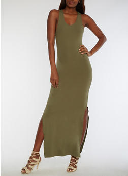 Soft Knit Racerback Maxi Dress - OLIVE - 3094060580125