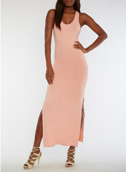 Soft Knit Racerback Maxi Dress - DUSTY ROSE - 3094060580125