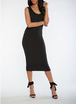 Soft Knit Midi Bodycon Dress - BLACK - 3094060580250
