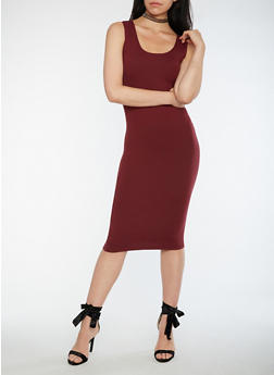 Soft Knit Midi Bodycon Dress - BURGUNDY - 3094060580250