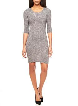 Rib-Knit Bodycon Midi Dress With 3/4 Sleeves,GRAY,medium