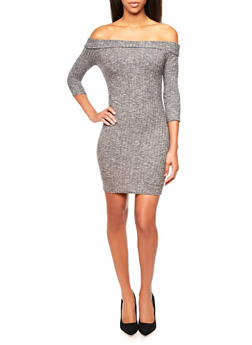 Ribbed Sweater Dress in Marled Color,GRAY,medium