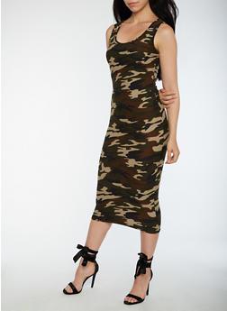 Soft Knit Midi Camo Bodycon Dress - 3094060580374
