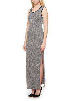 Rib-Knit Sleeveless Hooded Maxi Dress,GRAY,medium