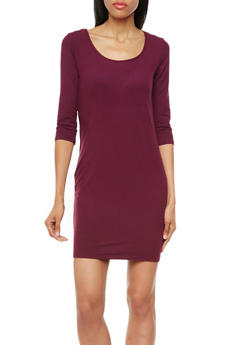 3/4 Sleeve Solid Knit Bodycon Mini Dress,PLUM,medium