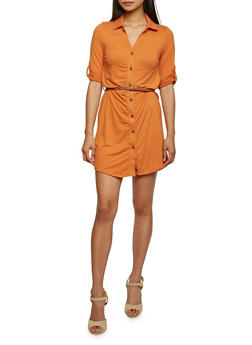 Shirt Dress with Button Cuff Sleeves - 3094060582250