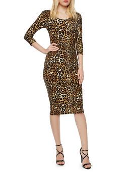 Bodycon Dress with Leopard Print - 3094060582317