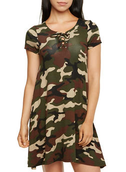 Camo Print Shift Dress with Lace-Up Bust Accent - 3094060582374