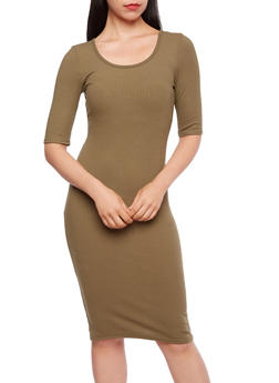 Ribbed Midi Dress - 3094060582479