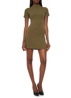 Rib-Knit Dress with Mock Neck - 3094060582497