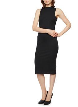 Sleeveless Midi Dress with Mock Neck - BLACK - 3094060582656