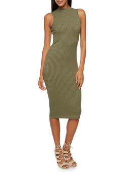 Sleeveless Midi Dress with Mock Neck - 3094060582656