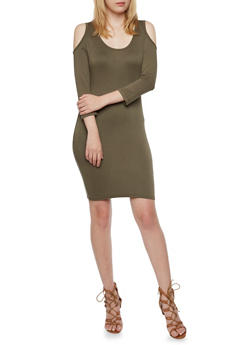 Mini Bodycon Dress with Cutout Shoulders - 3094060582666