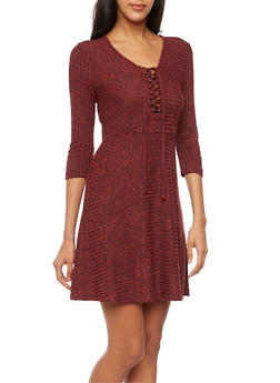 Lace Up Skater Dress in Rib Knit - 3094060582679